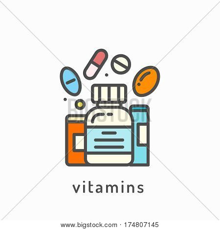 Vitamins icon. Healthy lifestyle, balanced diet eating concept