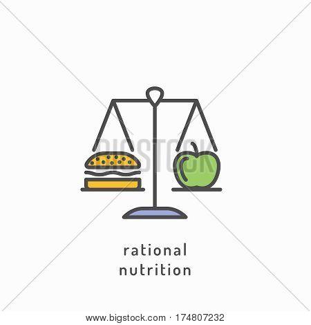 Rational nutrition icon. Healthy lifestyle, balanced diet eating, healthy diet concept