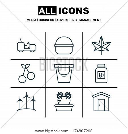 Set Of 9 Agriculture Icons. Includes Package, Sweet Berry, Pail And Other Symbols. Beautiful Design Elements.