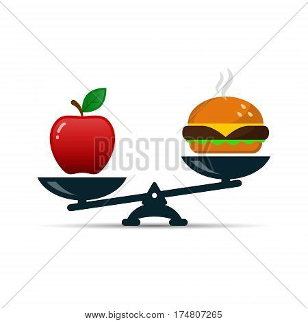Scales with red apple and burger fast food vector color illustration showing balance between healthy and unhealthy food.