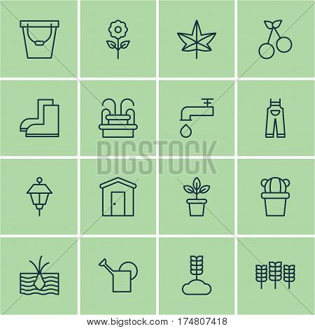 Set Of 16 Farm Icons. Includes Spigot, Bailer, Garden Clothes And Other Symbols. Beautiful Design Elements.
