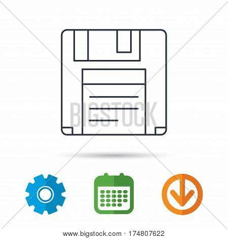 Floppy disk icon. Retro data storage sign. Calendar, cogwheel and download arrow signs. Colored flat web icons. Vector