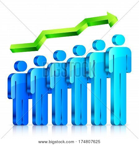 Blue 3d people figures with arrow. Human resource infographic