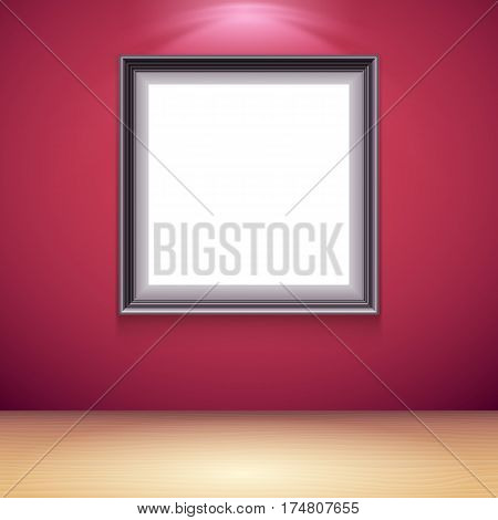 Blank white poster on red wall in museum or gallery interior. Poster mock-up template