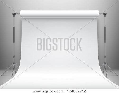 White studio background or backdrop with empty space