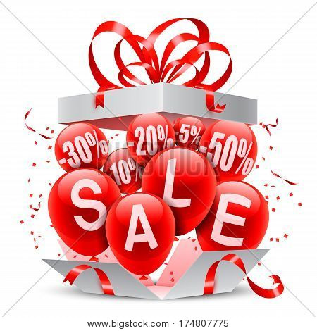 Opened gift box and balloons on white background. Sale and discounts announcement