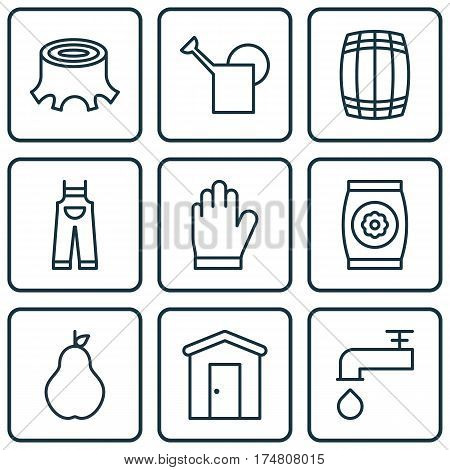 Set Of 9 Agriculture Icons. Includes Fertilizer, Cask, Tree Stub And Other Symbols. Beautiful Design Elements.