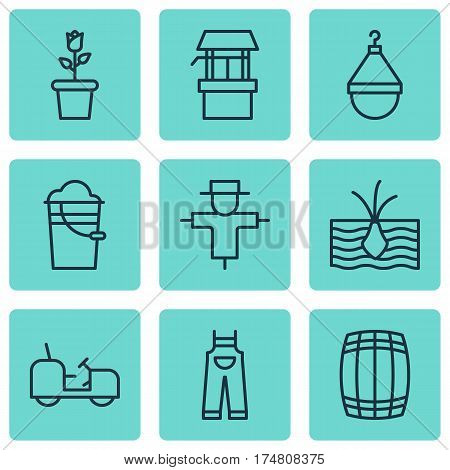 Set Of 9 Planting Icons. Includes Agrimotor, Garden Clothes, Hanger And Other Symbols. Beautiful Design Elements.