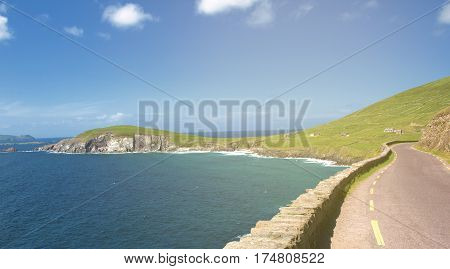 beautiful irish landscape scenery from the west coast of ireland aliong the wild altantic scenic route.