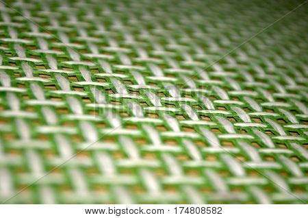 Green texture tablecloth on wooden table, Novi Sad, Serbia