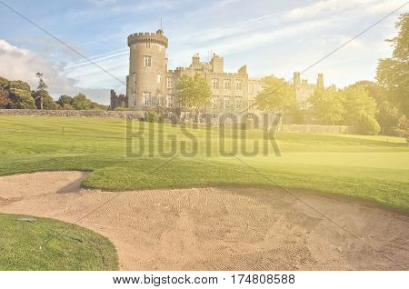 irish castle from the west of ireland. beautiful sunset scenery