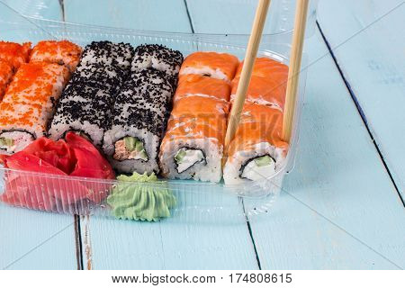 Delicious rolls and sushi with eel salmon and cream cheese