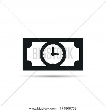 Time bill money icon. Time is money icon concept. Denomination icon with clock. Vector illustration.