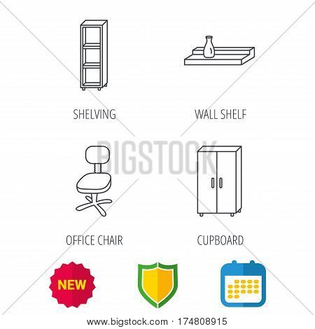 Office chair, cupboard and shelving icons. Wall shelf linear sign. Shield protection, calendar and new tag web icons. Vector