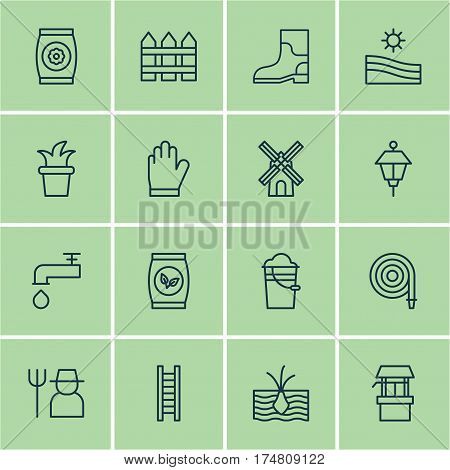 Set Of 16 Holticulture Icons. Includes Lantern, Water Source, Spigot And Other Symbols. Beautiful Design Elements.