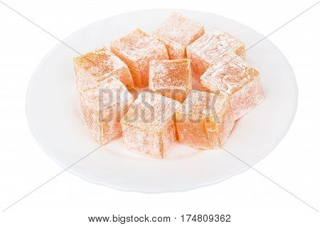 Heap Of Rakhat-lukum In Plate Isolated On White