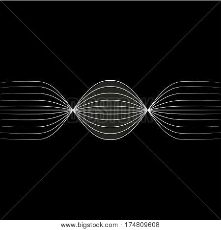 Abstract horizontal white lines retro space background