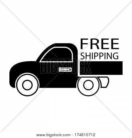 simple flat black free shipping car icon vector