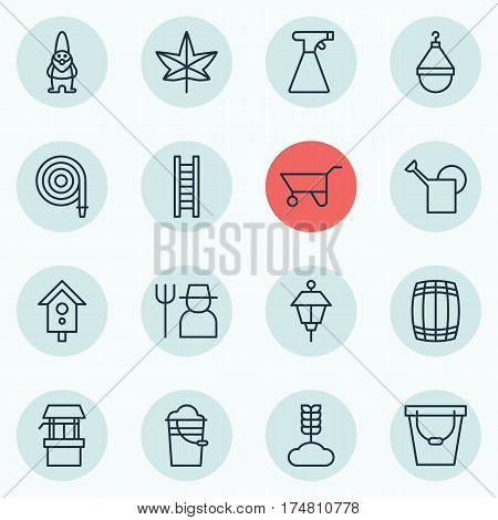 Set Of 16 Planting Icons. Includes Cereal, Sprinkler, Lantern And Other Symbols. Beautiful Design Elements.