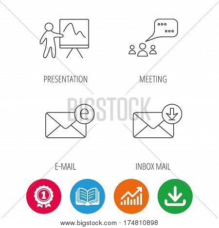Mail, presentation and meeting chat bubbles icons. E-mail linear sign. Award medal, growth chart and opened book web icons. Download arrow. Vector