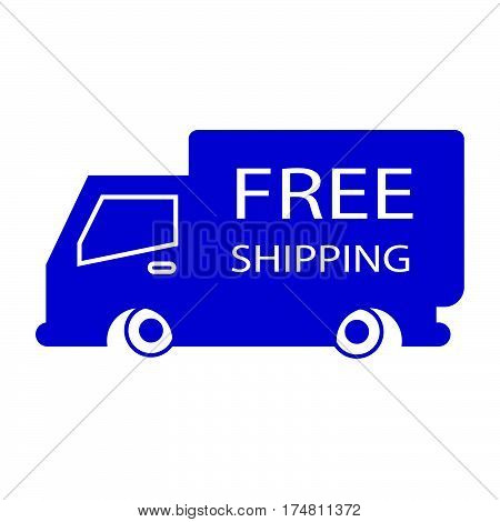 simple flat colour free shipping truck box icon vector