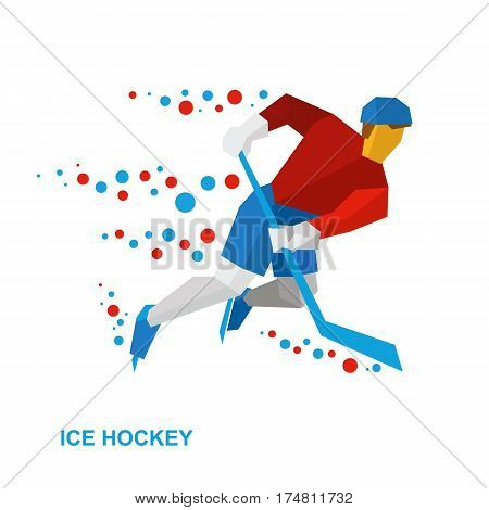 Winter Sports: Ice Hockey. Player With Stick Rides On Skates.
