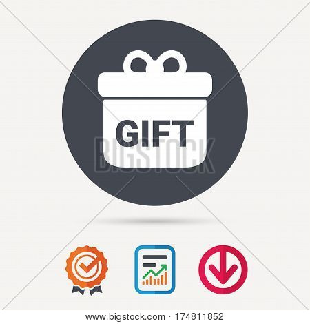 Gift icon. Present box with bow symbol. Report document, award medal with tick and new tag signs. Colored flat web icons. Vector
