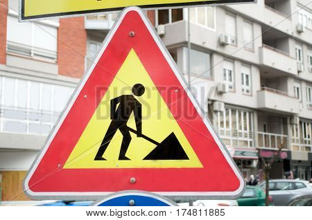 The yellow sign for construction works, Novi Sad, Serbia