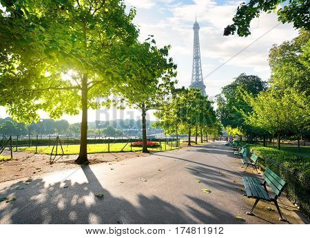 Sunny morning and Eiffel Tower, Paris, France