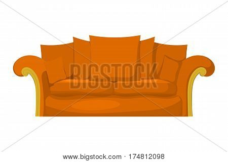 Illustration of a yellow sofa with pillows on a white background. Cartoon style. Isolate. Stock vector