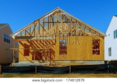 A new stick built home under construction new building house