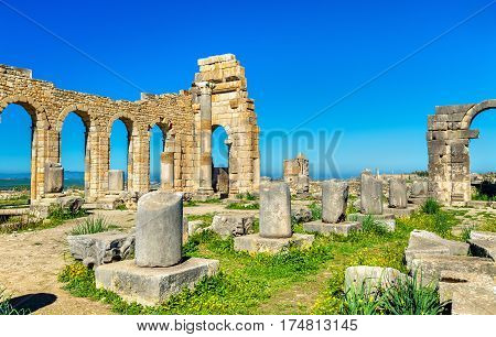 Ruins of a roman basilica at Volubilis, a UNESCO world heritage site in Morocco