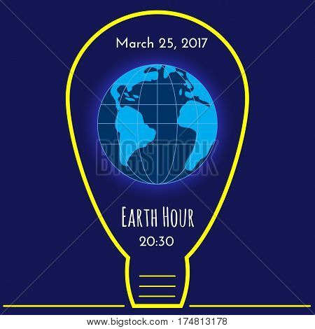 Vector background with the image of Earth and frame in the form of a light bulb. Earth Hour environmental movement illustration