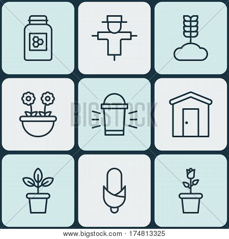 Set Of 9 Garden Icons. Includes Herb, Cereal, Flowerpot And Other Symbols. Beautiful Design Elements.