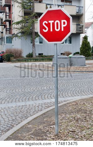 Traffic sign indicating that you need to stop in the street, Novi Sad, Serbia