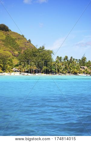 The Beautiful sea and resort in Bora Bora Island , FRENCH POLYNESIA.