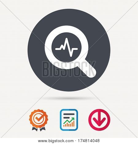 Heartbeat in magnifying glass icon. Cardiology symbol. Medical pressure sign. Report document, award medal with tick and new tag signs. Colored flat web icons. Vector
