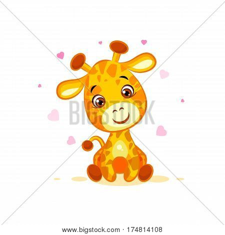 Vector Stock Illustration isolated Emoji hello hi in love hearts you are cute character cartoon Giraffe sticker emoticon for info graphics, video, animation, website, mail, newsletters, reports, comic
