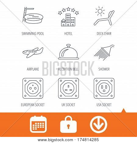Hotel, swimming pool and beach deck chair icons. Reception bell, shower and airplane linear signs. European, UK and USA socket icons. Download arrow, locker and calendar web icons. Vector