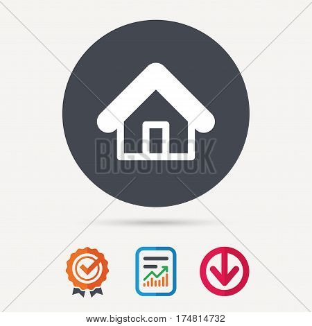 Home icon. House building symbol. Real estate construction. Report document, award medal with tick and new tag signs. Colored flat web icons. Vector