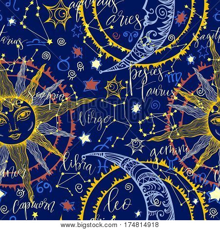 Seamless hand drawn background with Moon, Sun, stars and modern hand drawn lettering zodiacs names