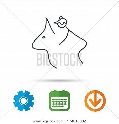 Horseback riding icon. Jockey rider sign. Horse sport symbol. Calendar, cogwheel and download arrow signs. Colored flat web icons. Vector