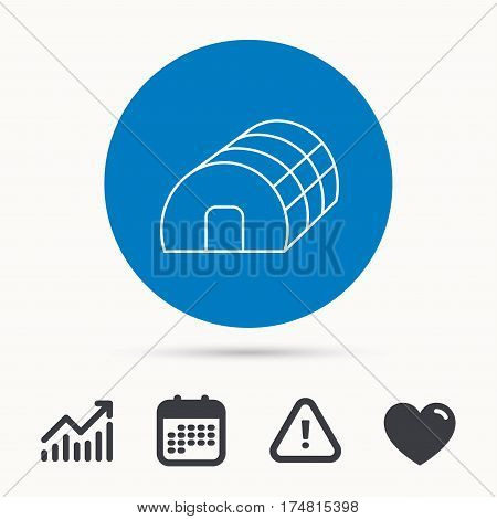Greenhouse complex icon. Hothouse building sign. Warm house symbol. Calendar, attention sign and growth chart. Button with web icon. Vector