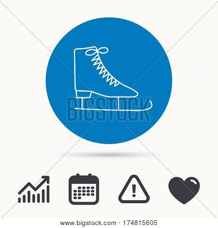 Ice skates icon. Figure skating equipment sign. Professional winter sport symbol. Calendar, attention sign and growth chart. Button with web icon. Vector