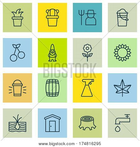 Set Of 16 Farm Icons. Includes Hang Lamp, Sprinkler, Spigot And Other Symbols. Beautiful Design Elements.