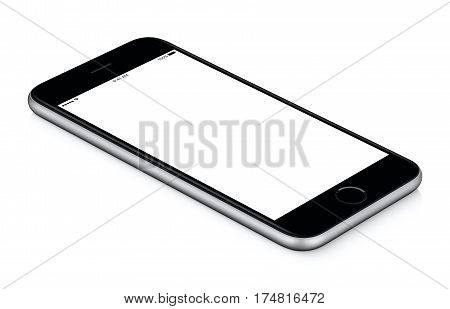 Black mobile smart phone mockup counterclockwise rotated lies on the surface with blank screen isolated on white background. You can use this smartphone mock-up for your web project or design presentation.
