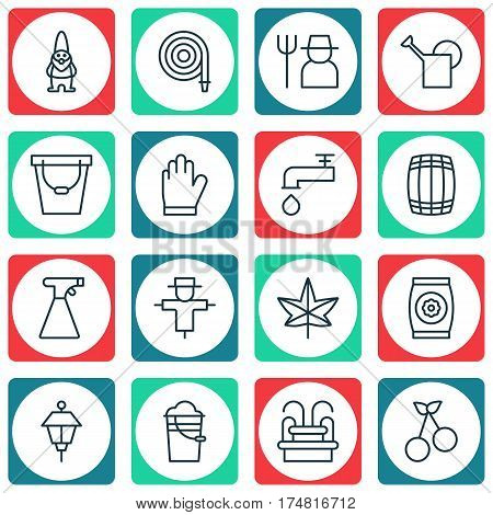 Set Of 16 Holticulture Icons. Includes Sweet Berry, Spigot, Lantern And Other Symbols. Beautiful Design Elements.