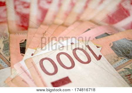 Serbian currency dinar. Banknotes of 1000 dinars