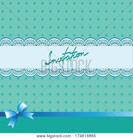 Turquoise background with lace. Vintage background with lace border and satin ribbon with a bow. Invitation card or template shower card baby. Vector Image.