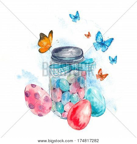 Watercolor cute glass jar with candy, blue bow, butterfly and colored eggs. Easter spring hand painted illustration isolated on white background